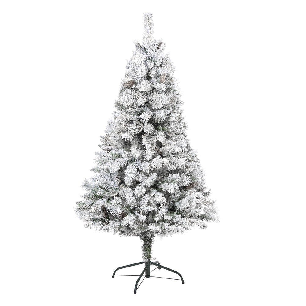 5' Flocked White River Mountain Pine Artificial Christmas Tree with Pinecones