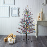 5' Frosted Berry Twig Artificial Christmas Tree with 200 Multicolored Gum Ball LED Lights and 386 Bendable Branches