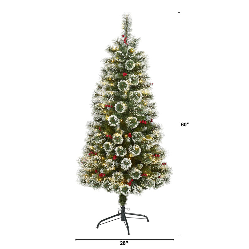 5' Frosted Swiss Pine Artificial Christmas Tree with 200 Clear LED Lights and Berries