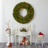 5' Giant Artificial Christmas Wreath with 280 Warm White Lights and Pine Cones