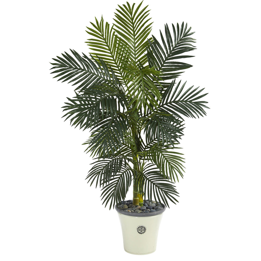5' Golden Cane Artificial Palm Tree in Decorative Planter