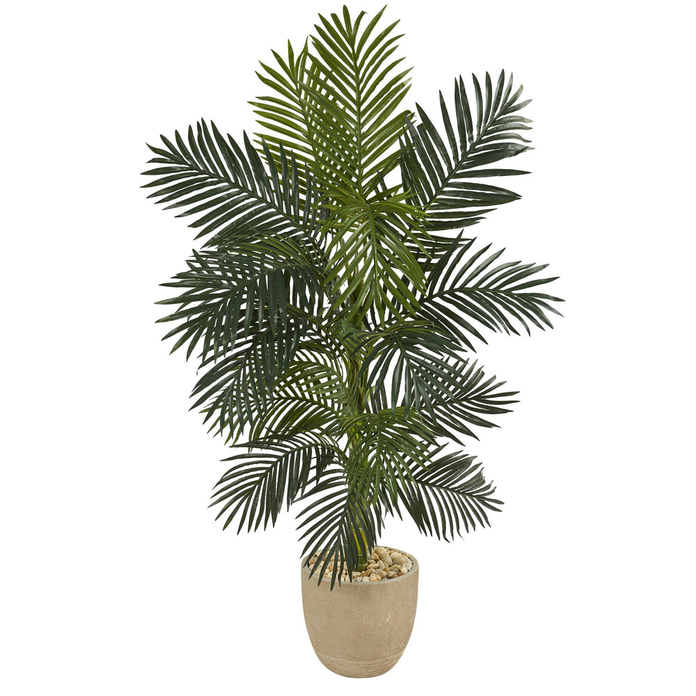 5' Golden Cane Artificial Palm Tree in Sandstone Planter