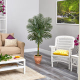 5' Golden Cane Artificial Palm Tree in Terra-Cotta Planter