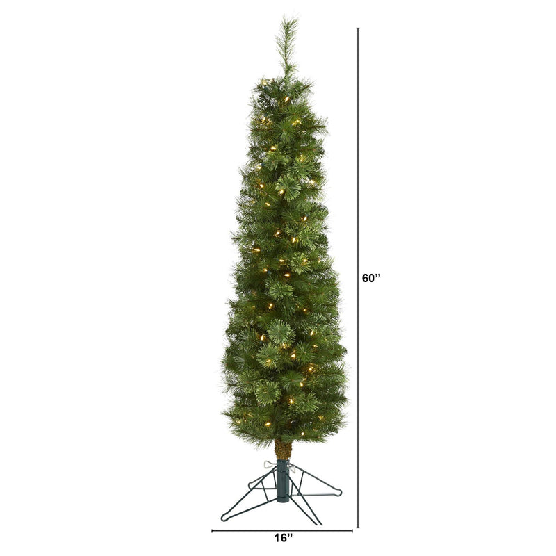 5' Green Pencil Artificial Christmas Tree with 100 Clear (Multifunction) LED Lights and 198 Bendable Branches