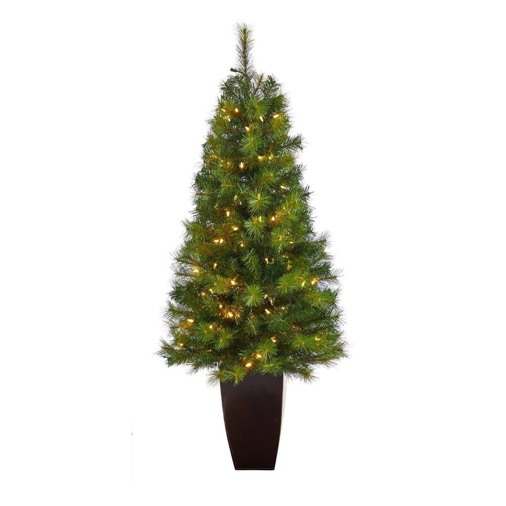 5' Green Valley Pine Artificial Christmas Tree with 100 Warm White LED Lights and 201 Bendable Branches in Bronze Metal Planter