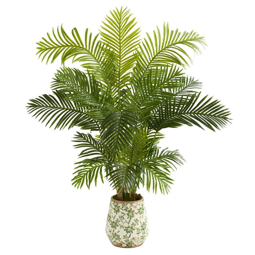 5' Hawaii Palm Artificial Tree in Floral Print Planter
