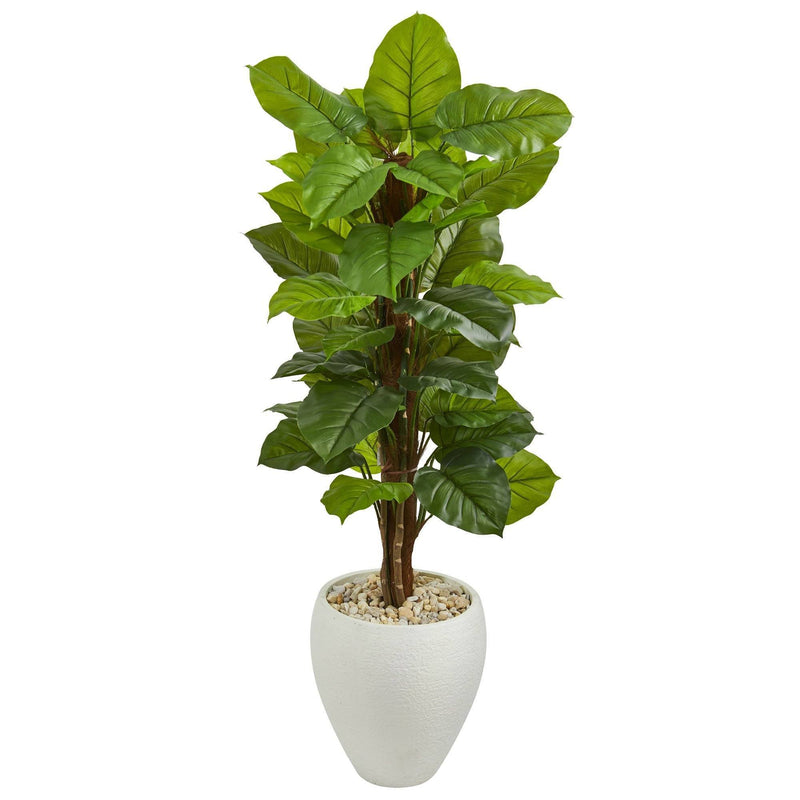 5' Large Leaf Philodendron Artificial Plant in White Oval Planter (Real Touch)