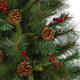 5' Mixed Pine Artificial Christmas Tree with 150 Clear LED Lights, Pine Cones and Berries