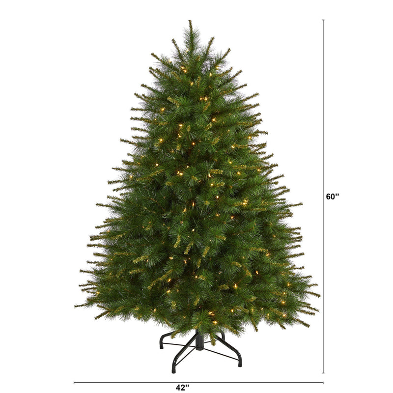 5' New England Pine Artificial Christmas Tree with 200 Clear Lights and 492 Bendable Branches