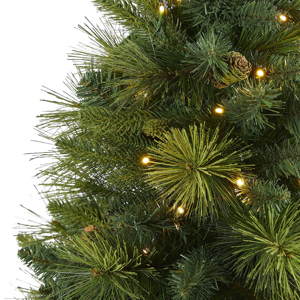 5 North Carolina Mixed Pine Artificial Christmas Tree With 200 Warm White Led Lights 711 Bendable Branches And Pinecones Nearly Natural
