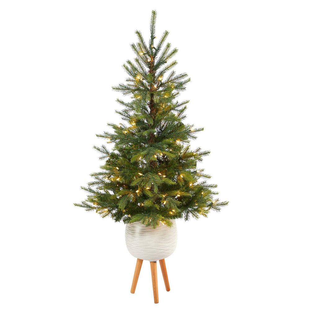 5' North Carolina Spruce Artificial Christmas Tree with 100 Clear Lights and 207 Bendable Branches in White Planter with Stand