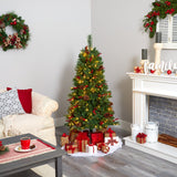 5' Norway Mixed Pine Artificial Christmas Tree with 200 Clear LED Lights, Pine Cones and Berries