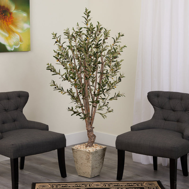 5' Olive Artificial Tree in Country White Planter