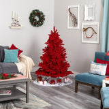 5' Red Flocked Fraser Fir Artificial Christmas Tree with 250 Red Lights, 26 Globe Bulbs and 490 Bendable Branches