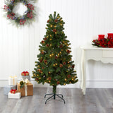5' Rocky Mountain Spruce Artificial Christmas Tree with Pinecones and 100 Clear LED Lights