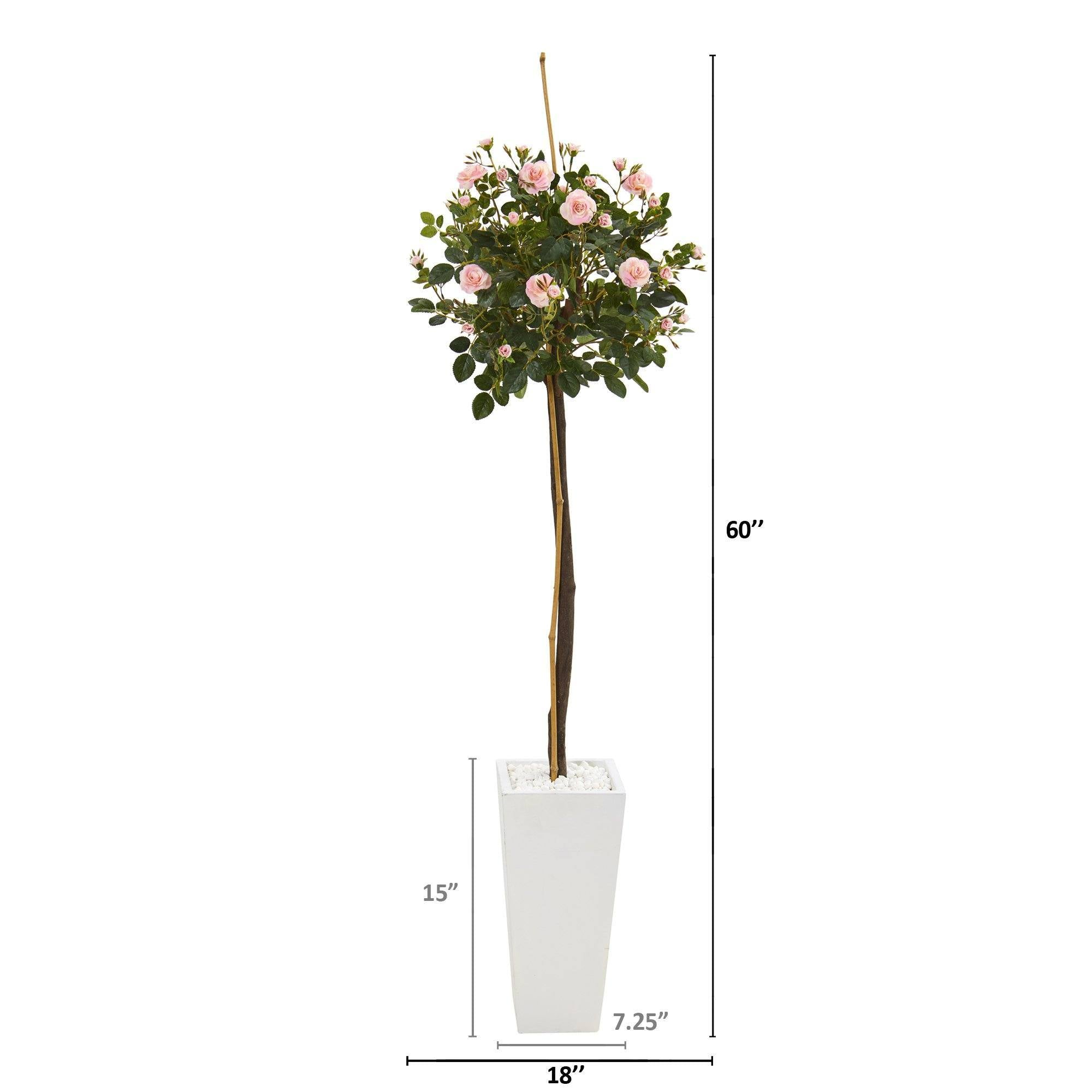 5 Rose Topiary Artificial Tree In White Planter Nearly Natural