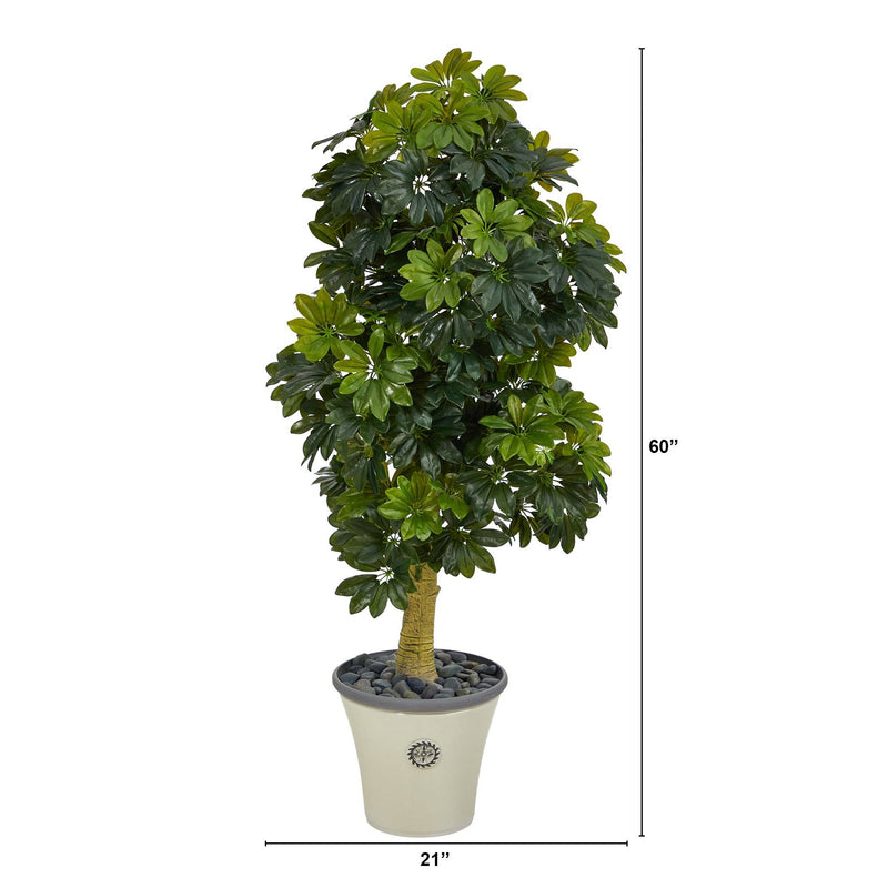 5' Schefflera Artificial Tree in Decorative Planter (Real Touch)