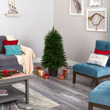 5' Sierra Fir Artificial Christmas Tree with 200 Multicolored Lights and 428 Bendable Branches in Decorative Container