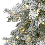 5' Slim Flocked Nova Scotia Spruce Artificial Christmas Tree with 150 Warm White LED Lights and 433 Bendable Branches