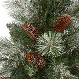 5' Snowed French Alps Mountain Pine Artificial Christmas Tree with 387 Bendable Branches and Pine Cones