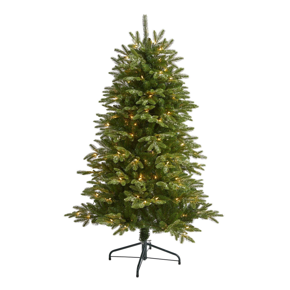 5' Snowed Grand Teton Artificial Christmas Tree with 150 Clear Lights and 462 Bendable Branches