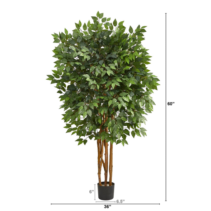 5' Super Deluxe Ficus Artificial Tree with 2100 Bendable Branches