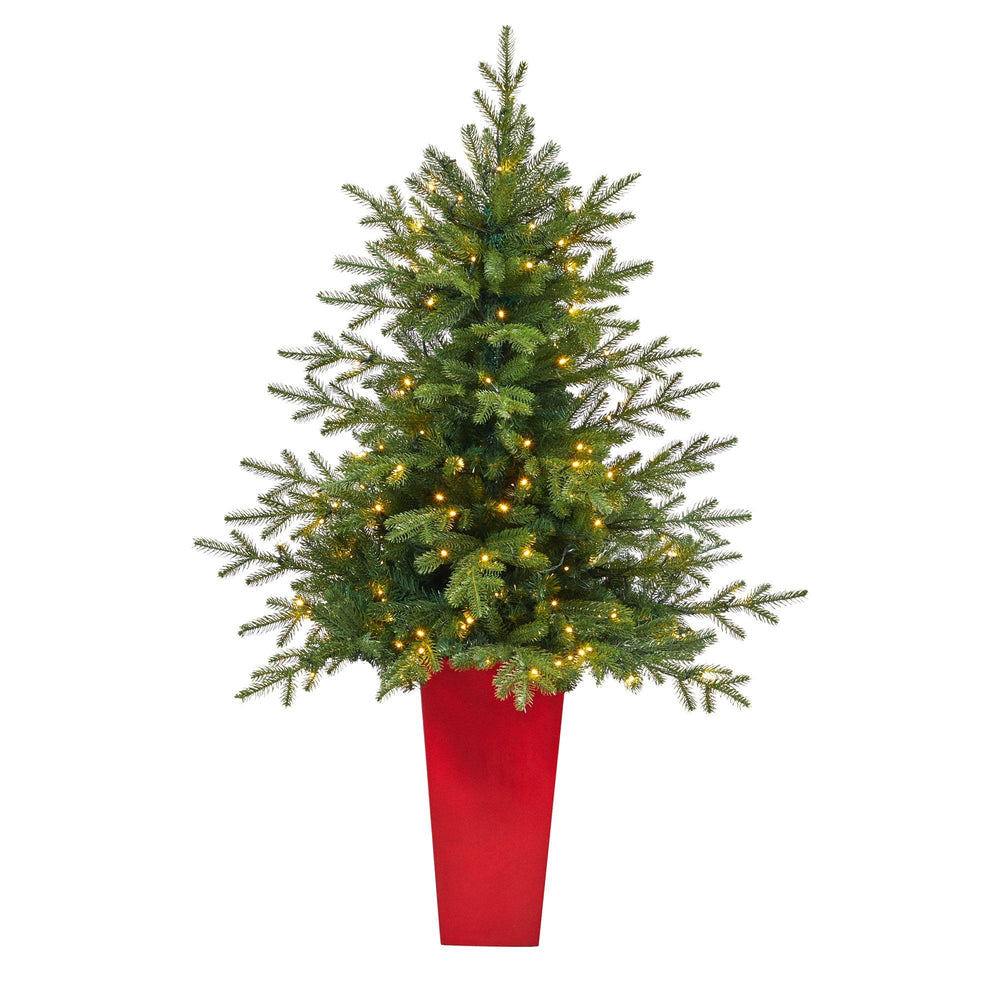 5' Swedish Fir Artificial Christmas Tree with 160 Warm White LED Lights and 403 Bendable Branches in Tower Planter