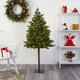 5' Swiss Alpine Artificial Christmas Tree with 150 Clear LED Lights and 270 Bendable Branches