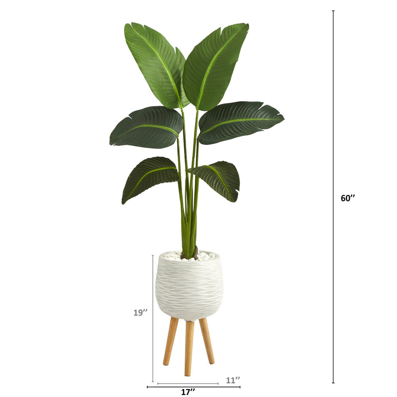 5' Traveler's Palm Artificial Plant in White Planter with Stand (Real Touch)