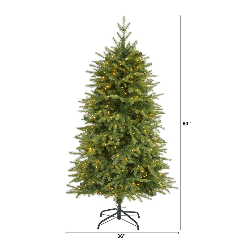 "5' Vancouver Fir ""Natural Look"" Artificial Christmas Tree with 350 Clear LED Lights and 1054 Bendable Branches"
