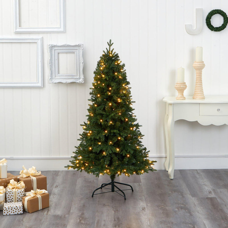5' Vermont Fir Artificial Christmas Tree with 150 Clear LED Lights