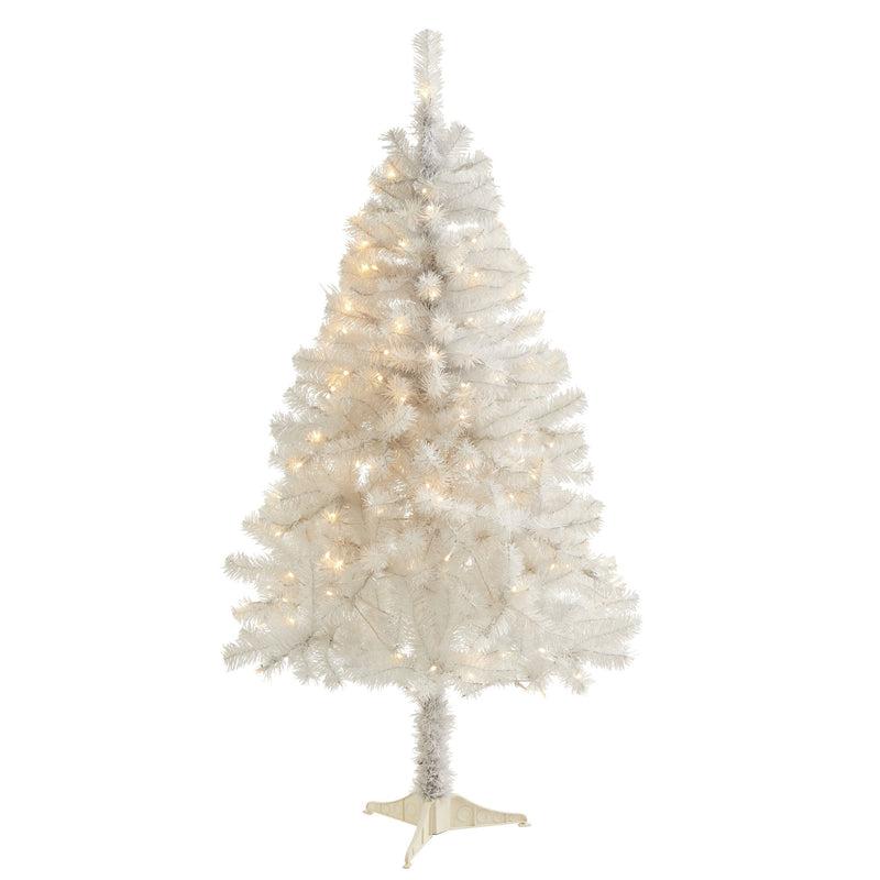 5' White Artificial Christmas Tree with 350 Bendable Branches and 150 Clear LED Lights