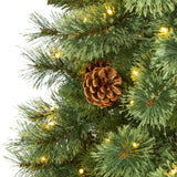 5' White Mountain Pine Artificial Christmas Tree with 200 Clear LED Lights and Pine Cones