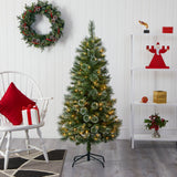 5' Wisconsin Slim Snow Tip Pine Artificial Christmas Tree with 150 Clear LED Lights