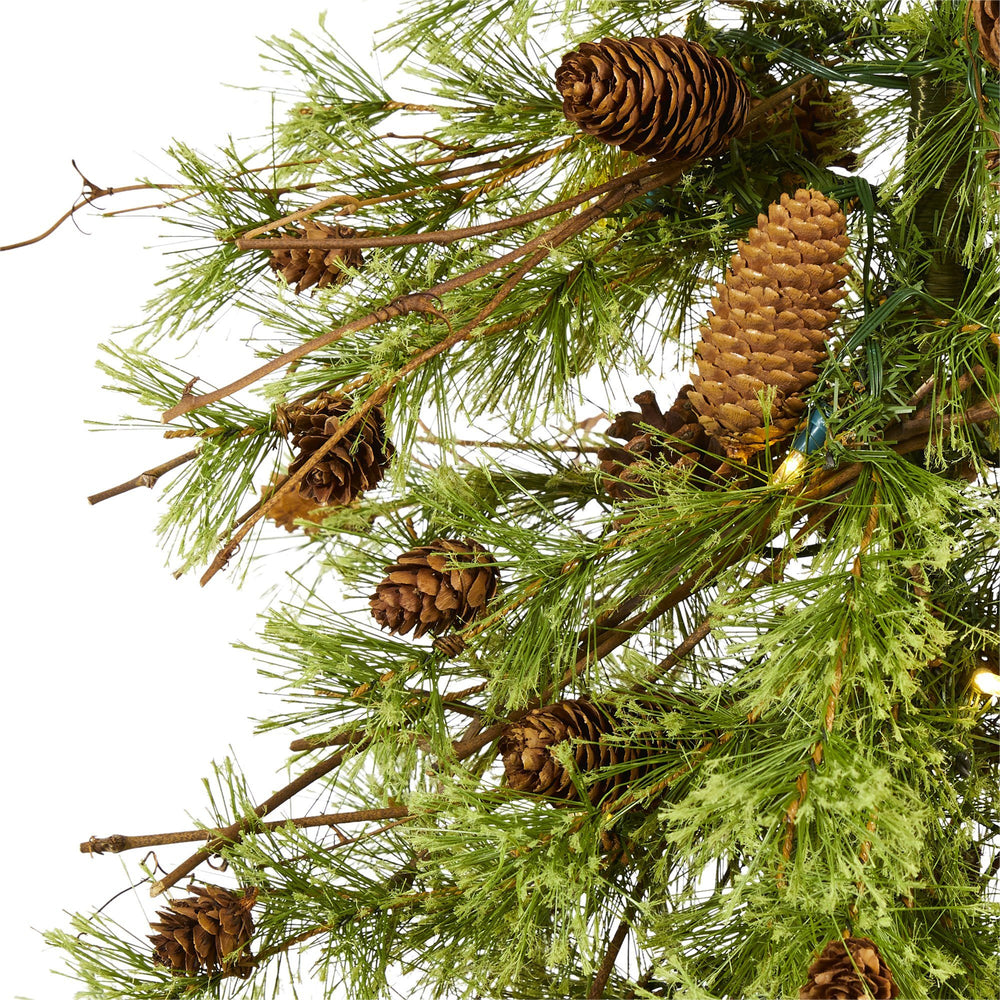 5' Wyoming Alpine Artificial Christmas Tree with 100 Clear (multifunction) LED Lights and Pine Cones on Natural Trunk