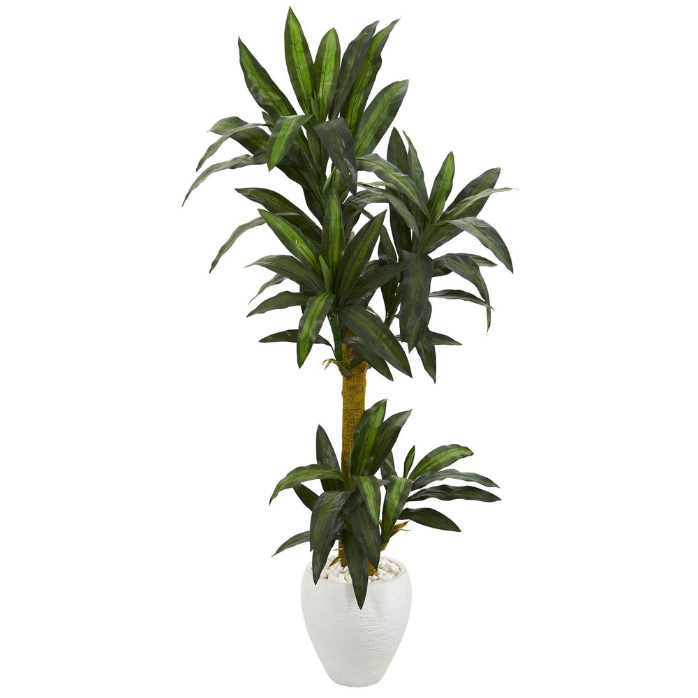 5' Yucca Artificial Plant in White Planter