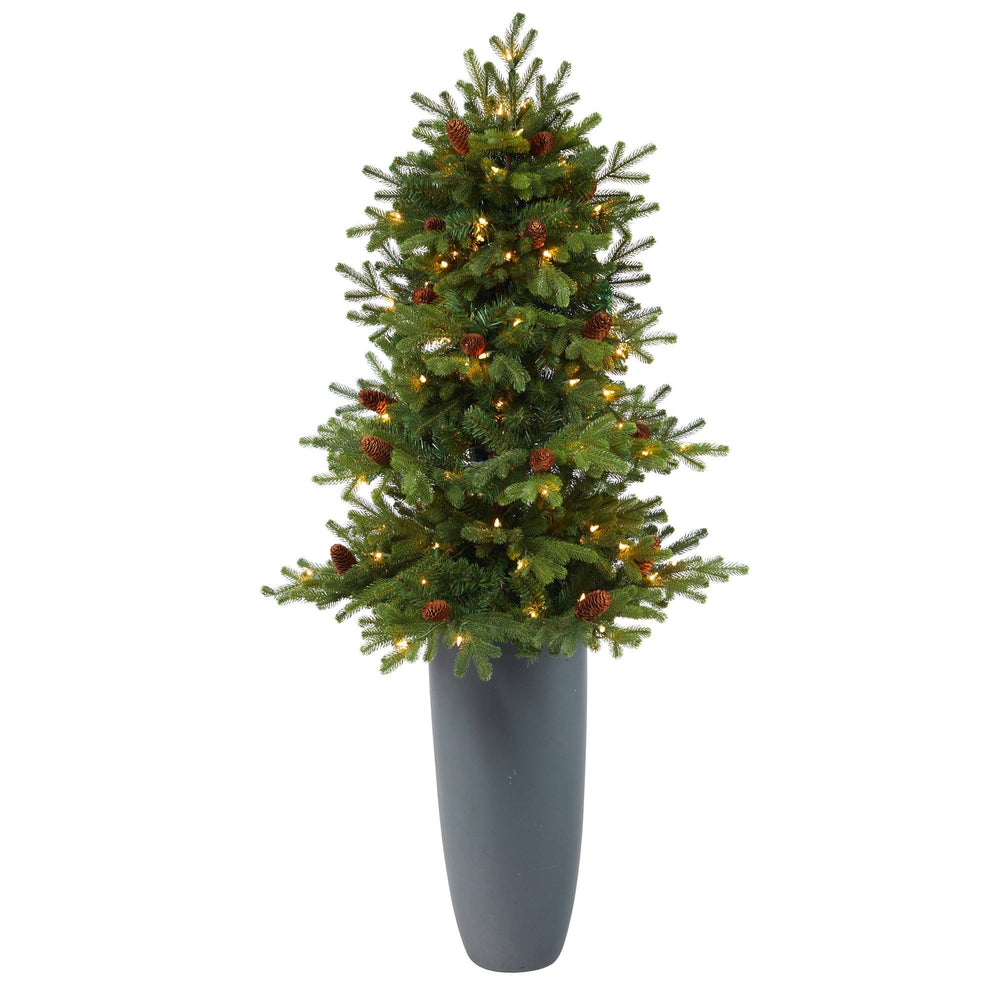 5' Yukon Mountain Fir Artificial Christmas Tree with 100 Clear Lights, Pine Cones and 386 Bendable Branches in Gray Planter