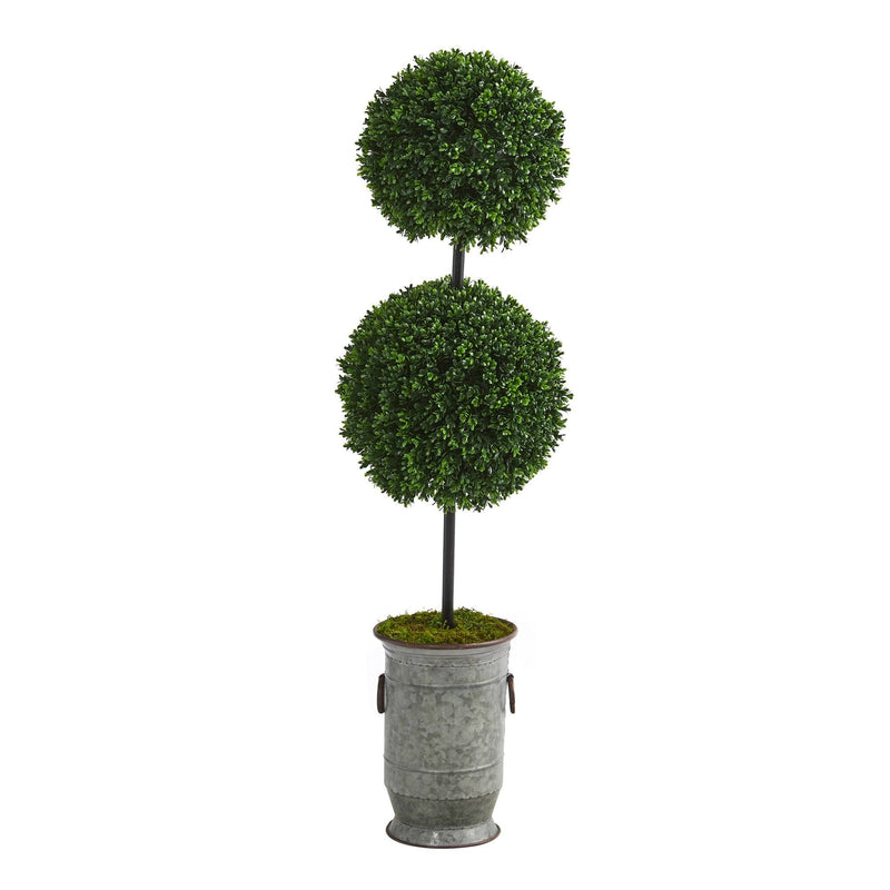 "50"" Boxwood Double Ball Artificial Topiary Tree in Vintage Metal Planter UV Resistant (Indoor/Outdoor)"