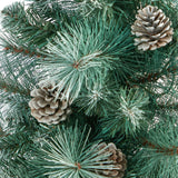 "50"" Frosted Tip British Columbia Mountain Pine Artificial Christmas Tree with 100 Clear Lights, Pine Cones and 228 Bendable Branches in White Planter"