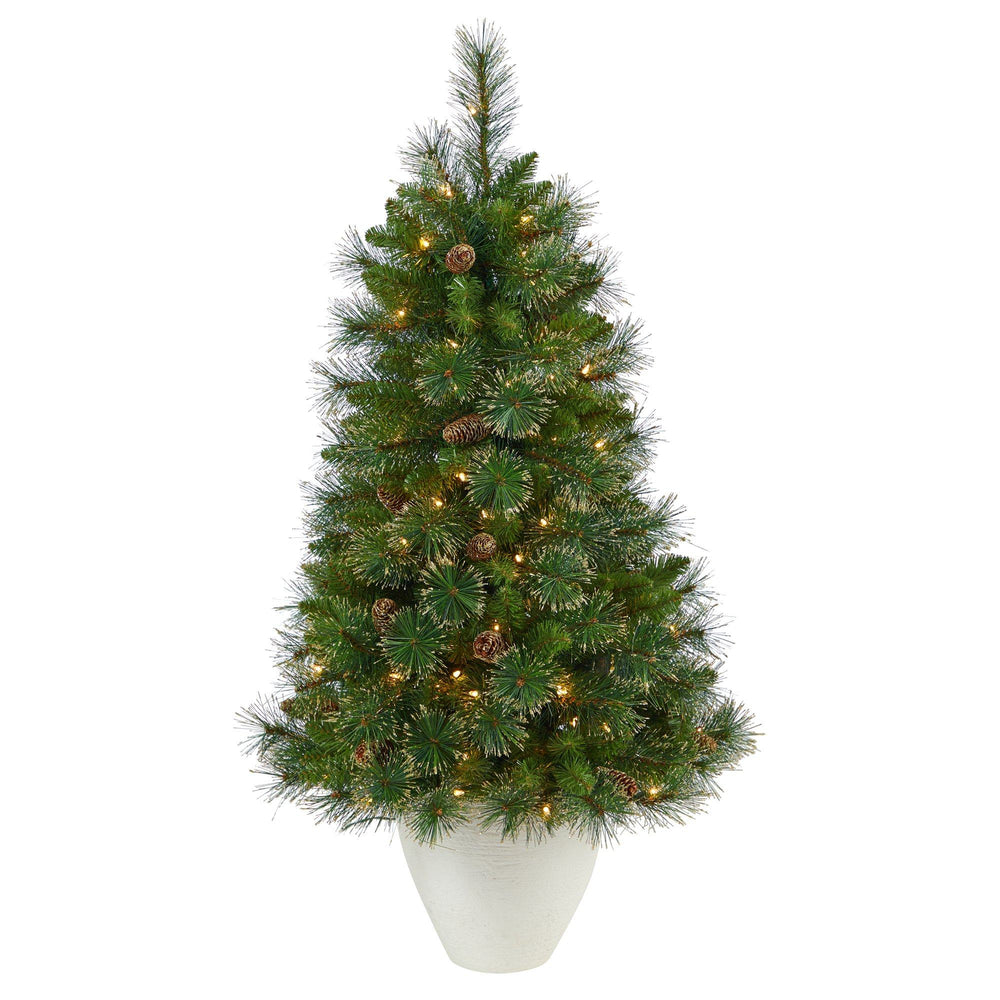 "50"" Golden Tip Washington Pine Artificial Christmas Tree with 100 Clear Lights, Pine Cones and 336 Bendable Branches in White Planter"