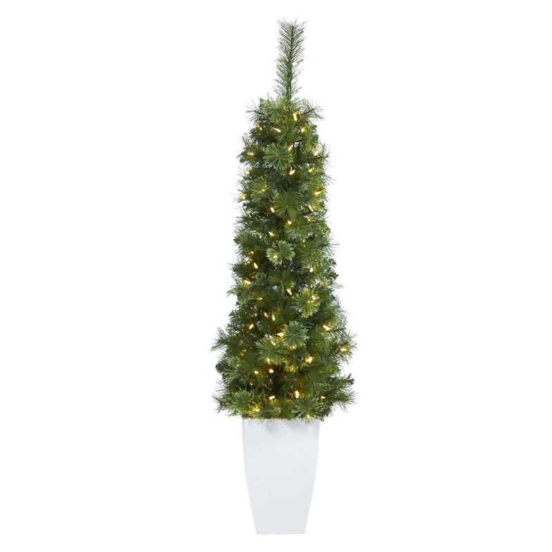"50"" Green Pencil Artificial Christmas Tree with 100 Clear (Multifunction) LED Lights and 140 Bendable Branches in White Metal Planter"