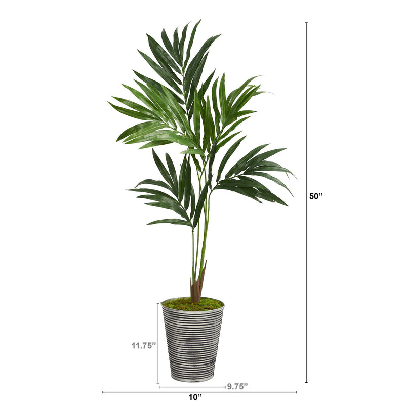 "50"" Kentia Artificial Palm Tree in Decorative Tin Planter"