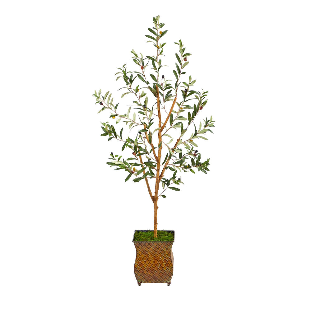 "50"" Olive Artificial Tree in Metal Planter"