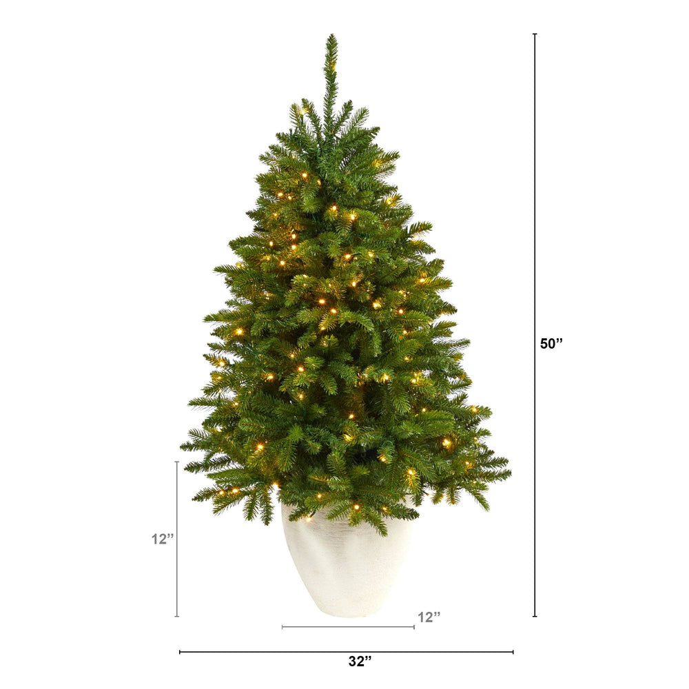 "50"" Sierra Spruce ""Natural Look"" Artificial Christmas Tree with 150 Clear LED Lights in White Planter"