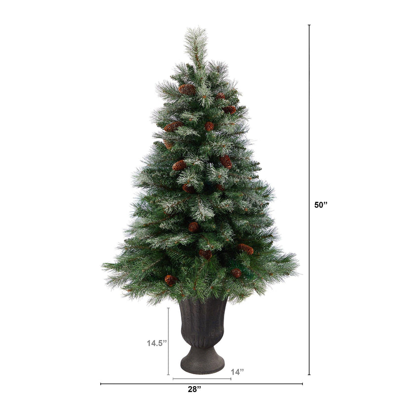 "50"" Snowed French Alps Mountain Pine Artificial Christmas Tree with 237 Bendable Branches and Pine Cones in Charcoal Planter"