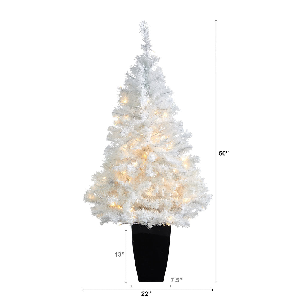 "50"" White Artificial Christmas Tree with 100 Clear LED Lights in Black Metal Planter"