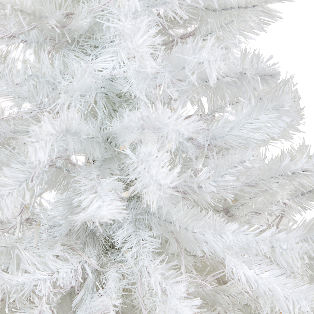 "50"" White Artificial Christmas Tree with 100 Clear LED Lights in Charcoal Planter"