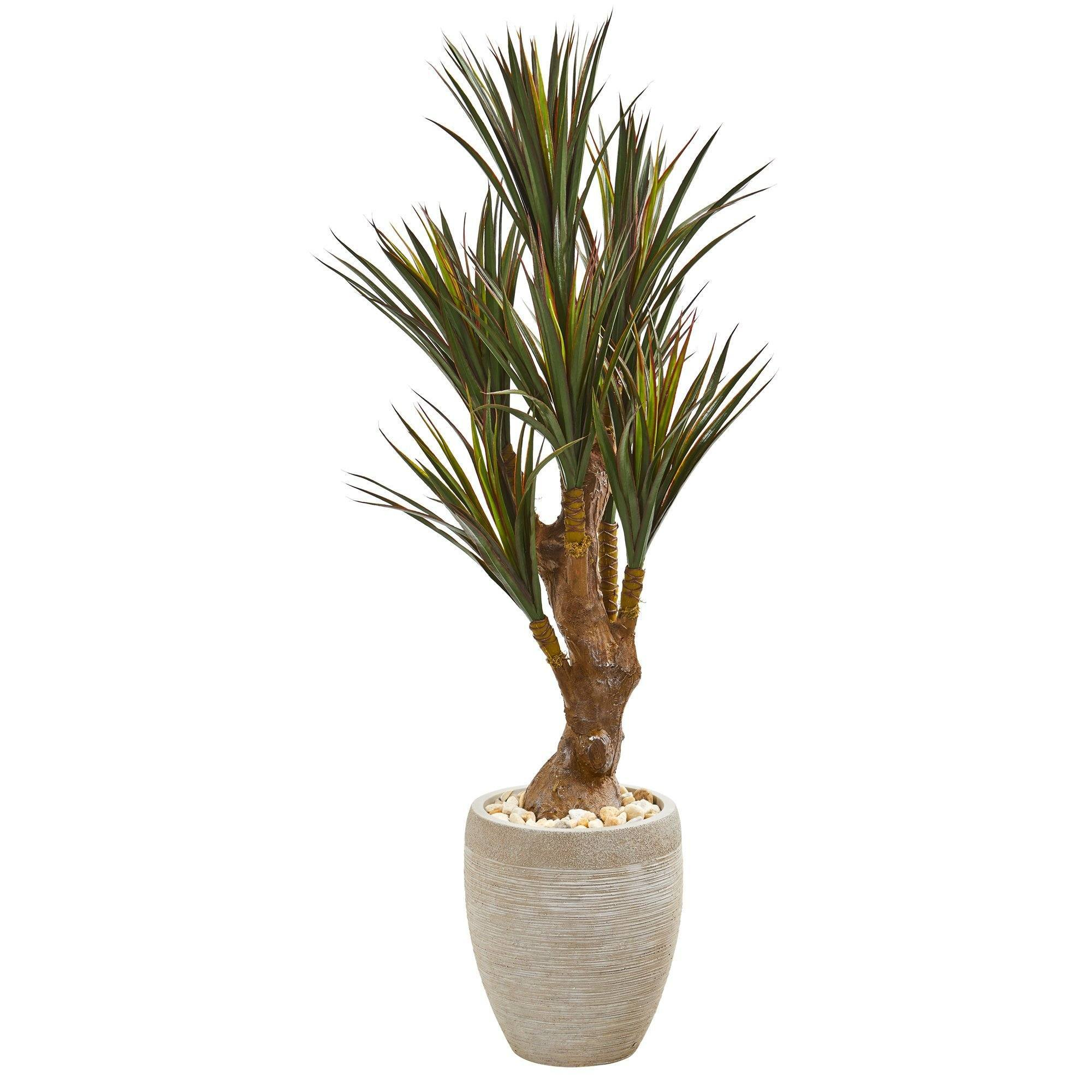 50 Yucca Artificial Tree In Planter Uv Resistant Indoor Outdoor Nearly Natural