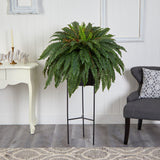 "51"" Boston Fern Artificial Plant in Black Planter with Stand"