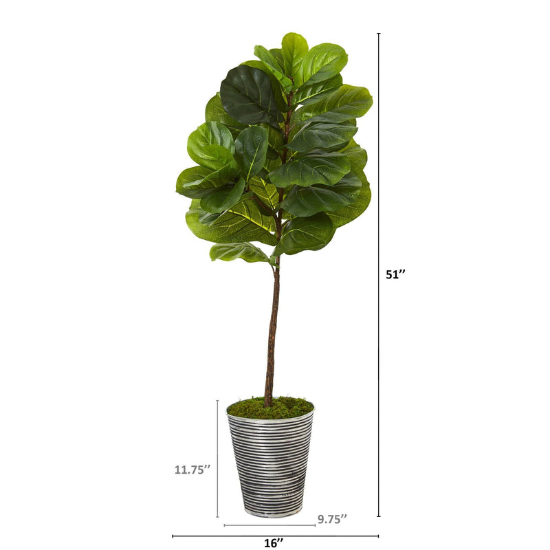 "51"" Fiddle Leaf Artificial Tree in Decorative Tin Planter (Real Touch)"